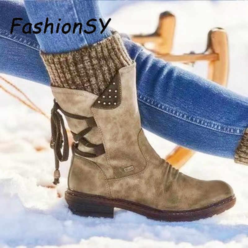 Sıcak kadın botları 2019 sonbahar kış Vintage düz bağcıklı ayakkabı kar botları örgü Patchwork kadın orta buzağı botları