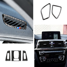 цена на Carbon Fiber Car Center Console Air Conditioning Vent Cover Frame Stickers Outlet Air Panel Decal for Bmw F30 F34 Car Styling