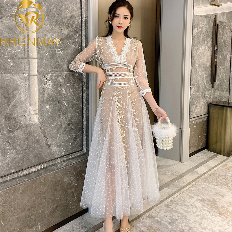 High Quality 2020 Spring Sexy V-neck Three Quarter Sleeve Mesh Embroidery Polka-Dot Dress Elegant Slim Draped Party Long Dress