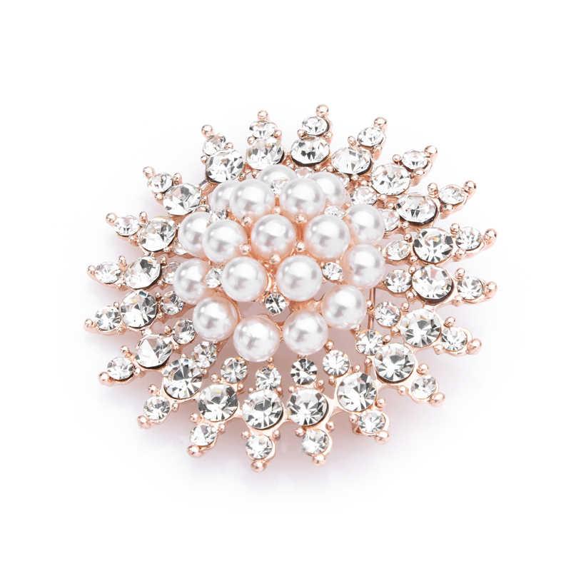 Wuli & Bayi Berlian Imitasi Pearl Bunga Matahari Bros Wanita Pernikahan Paduan Bros Pin Hadiah