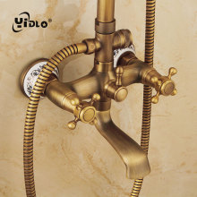 YiDLon Shower Faucets Antique Finish Bathroom Faucet Brass Bath Rainfall With Spray Head Europe Set