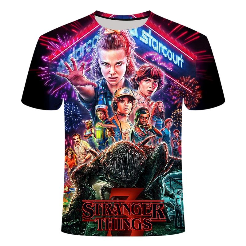 2020 circundantes coisas estranhas menino/menina magro ajuste manga curta 3d t-shirts moda