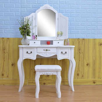 Vanity Set with Flip Top Mirror Makeup Dressing Table Write Desk with 5 Storage Drawers Makeup Cushioned Stool Bedroom Furniture - DISCOUNT ITEM  16 OFF All Category
