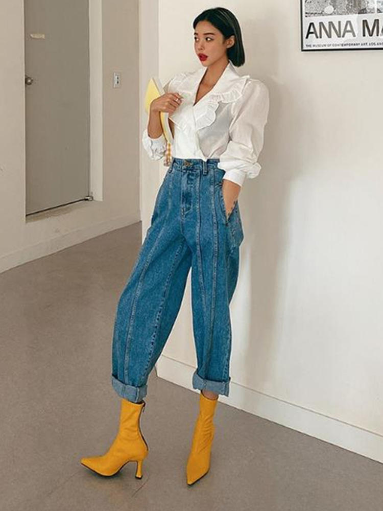 Vintage Jeans Outfits Pantalon Harem-Pants Denim Trousers Korean-Style Femme High-Street