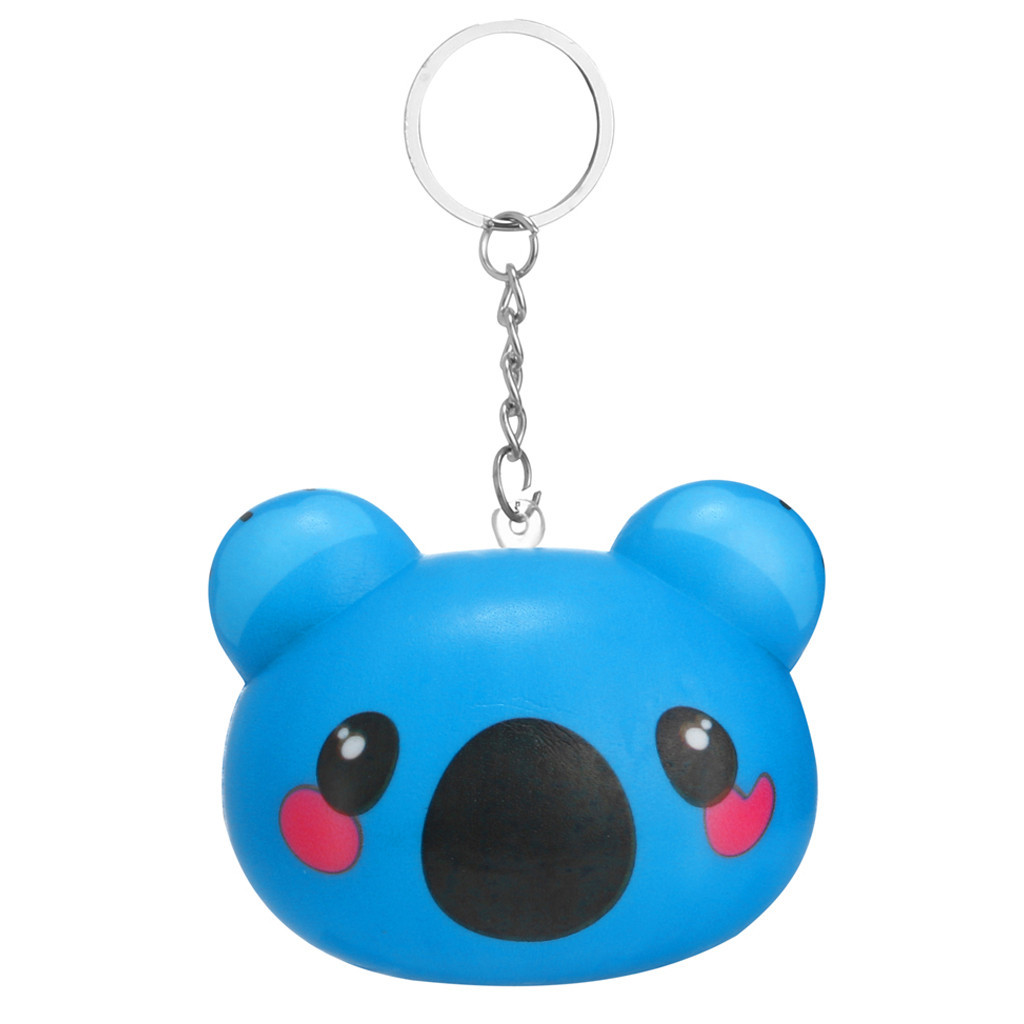 Squishy Toy Soft Slow Rising Animal Face Bread Simulation Bread Keychain Stress Reliever Decor Phone Strap Gift #A