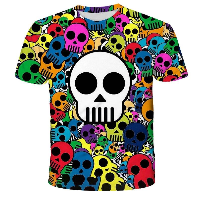 New 3D Skull Print Baby T-shirt Boy Girl Summer New Hipster Hip Hop Tshirt Tops Cool Short Sleeve Tops Unisex Funny Tee Clothes