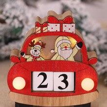 Christmas Advent Calendar Cartoon Car Shape Calendar Wood Desk Glowing Light Countdown Decor Календарь Christmas Calendar