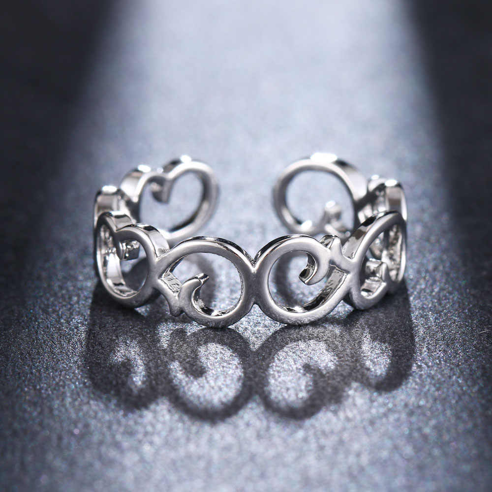 Drei Farbe Höhlte-out Blume Form Offenen Ring Design Niedlich Mode Liebe Schmuck Für Frauen Junge Mädchen Kind Geschenke einstellbar