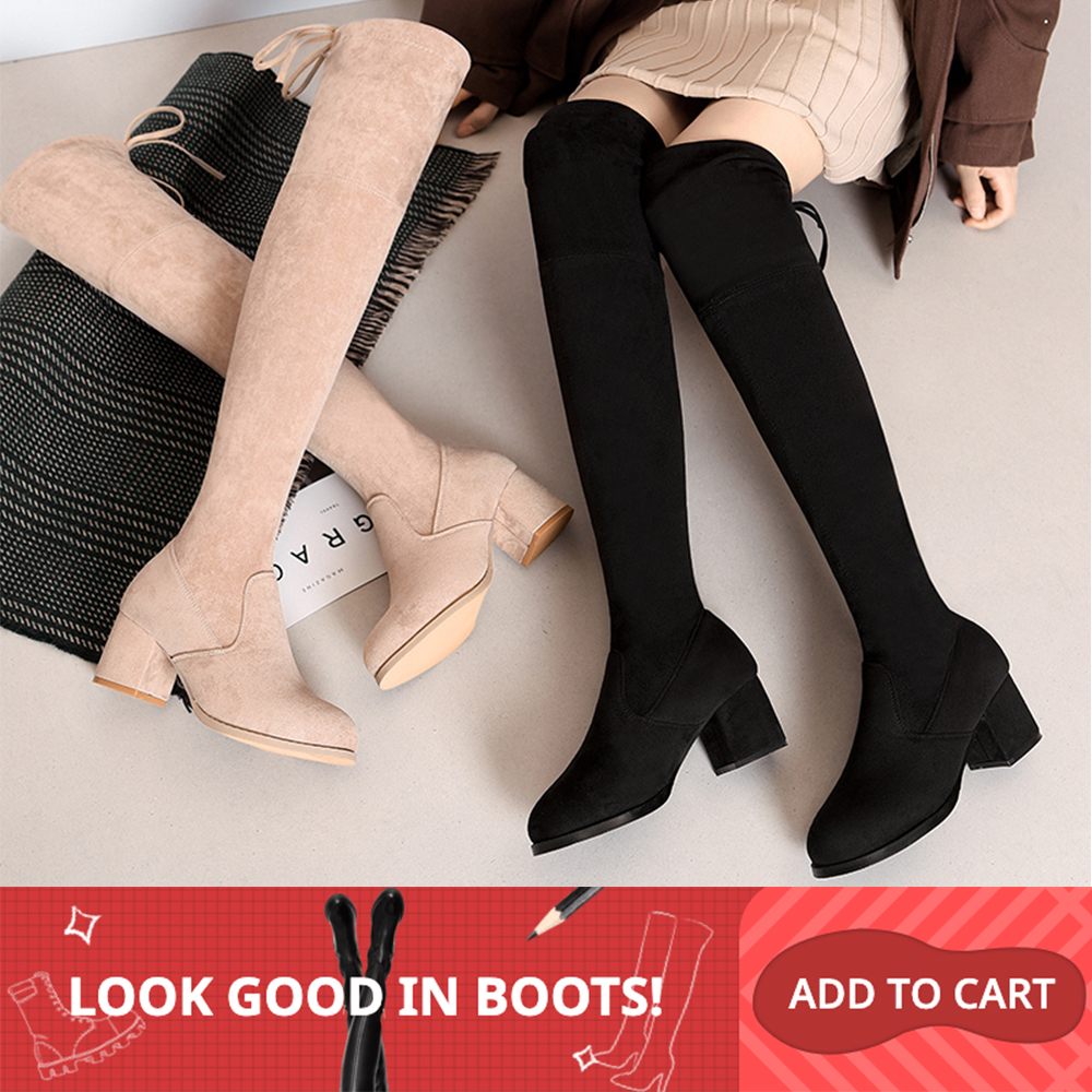 2019 Women Over The Knee Boots Lace Up Black Sexy High Heels Shoes Woman High Boot Wedge Winter Comfortable Fashion Botin Mujer