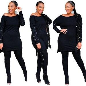 Новый комплект из обуви в африканском стиле Одежда для женщин, комплект из двух предметов с длинными топы, обтягивающие штаны, в комплекте с набором подходящих сумочек бега; Сезон Зима; Комплект спортивной одежды размера плюс 4XL 5XL