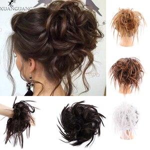 XUANGUANG грязный резной шиньон волосы булочки кудрявые эластичная лента синтетические волосы шиньон наращивание волос для женщин