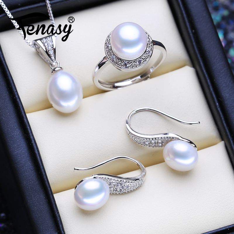 FENASY 925 Sterling Silver Natural Freshwater Pearl Jewelry Sets Classic Trendy Stud Earrings Pendant Chain Necklace For Women