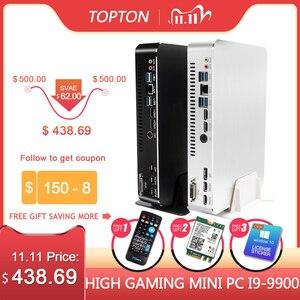 Image 1 - 2019 Gaming Mini PC Desktop Level i9 9900 i7 9700F i5 9400F GTX1050TI 4G GPU Win10 Micro Computer WiFi 2*HDMI2.0 DVI DP AC WiFi