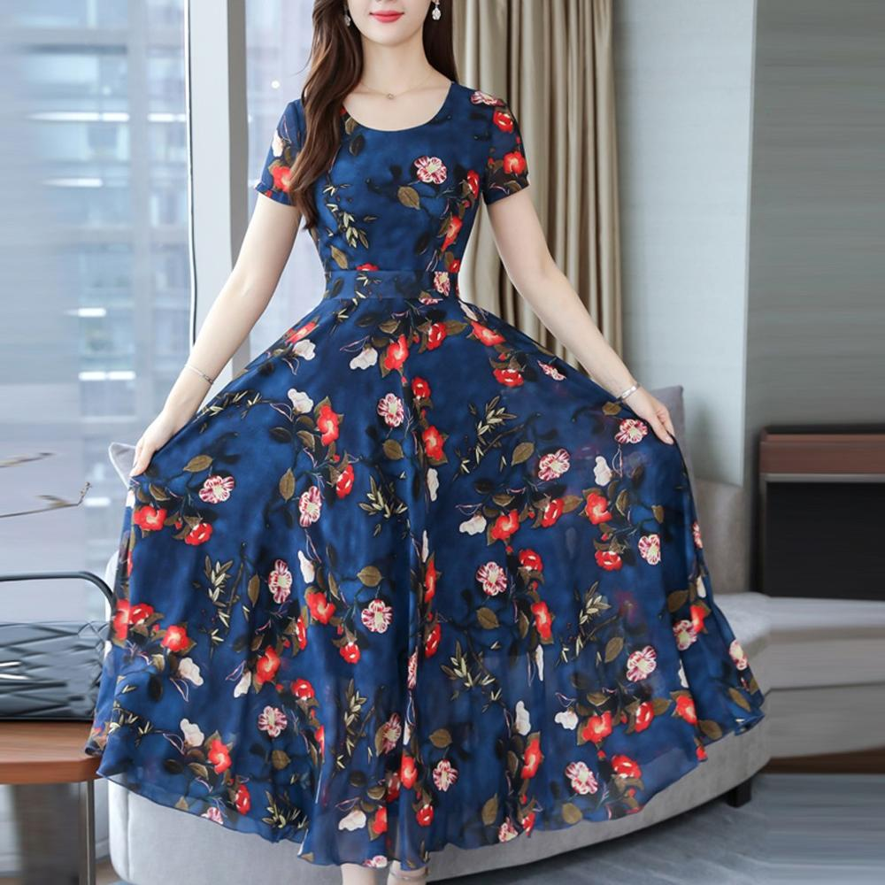 Women Round Neck  Summer Grace Mid-Calf Short Sleeve Floral Printed Party Dress