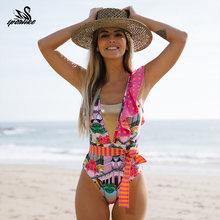 2020 sexy maiô de uma peça de banho feminino floral impressão bodysuit verão praia maiô monokini s ~ xl