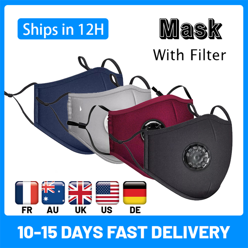 Cotton Black Mask Mouth Face Mask Anti PM2.5 Dust Mouth Mask  Activated Carbon Filter Mask Fabric Face Mask Washable