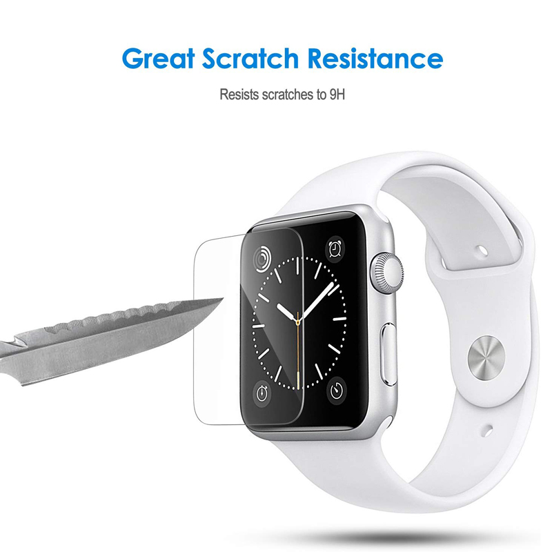 2pcs Screen Protector Film For Apple Watch Series 1 2 3 4 5 (38mm 40mm 42mm 44mm) Anti-Bubble Tempered Glass Protective Film