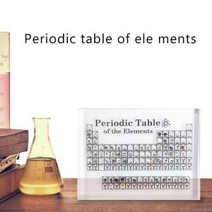 Table-Display Periodic Birthday-Gifts with Real-Elementss Kids Teaching School-Day Acrylic