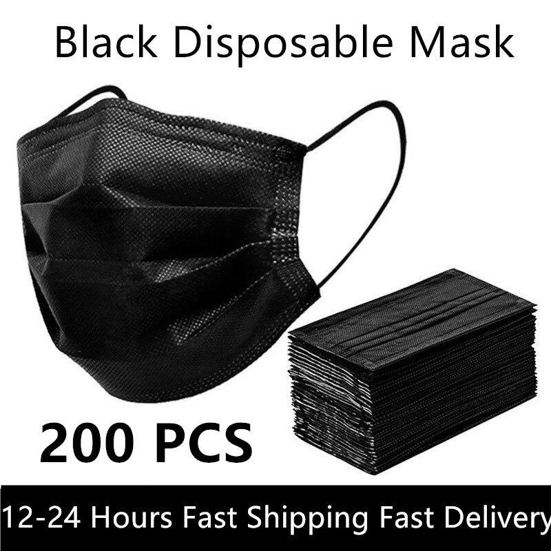 Черный 3-слойный маска 10/50/100/200 шт маски со ртом для лица аэродинамическим способом из расплава ткань одноразовые анти-пыльные маски Earloops мас...