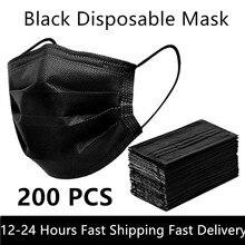 Black 3-layer Mask 10/50/100/200pcs Face Mouth Masks Melt Blown Cloth Disposable Anti-Dust Masks Earloops Masks