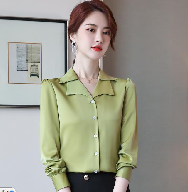 Double Neck Satin Shirt Women Long Sleeve Spring New Temperament Fashion Casual Blouses Office Ladies Formal Work Tops 8