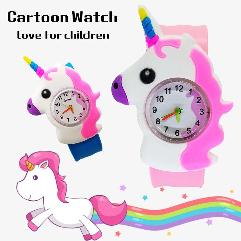 Unicorn Watch Baby-Clock Hour Electronic Children Relogio Pat LED Masculino Pony-Pattern