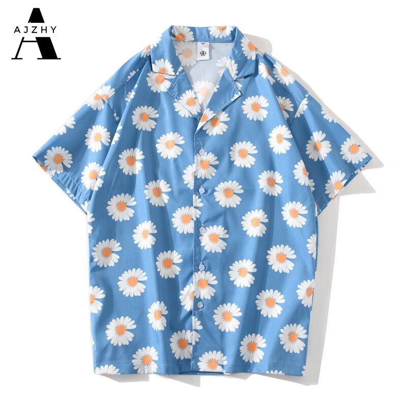Daisy Flower Print Hip Hop Shirts Short Sleeve Summer Beach Streetwear Hawaiian Shirts Men Casual Harajuku Aloha Shirt Retro Men