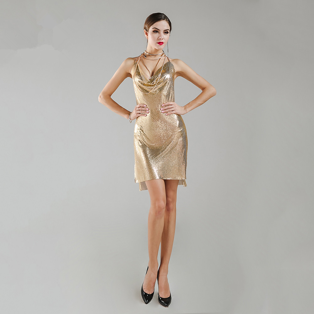 Sexy Gold Homecoming Dresses V Neck Short Sleeveless Backless Sheath Graduation Silvery Party Dress Junior Gown In Stock
