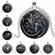2019 New Hot Sale All Kinds of Retro Animal Pattern Fashion Glass Cabochon Necklace Pendant Popular Jewelry Gift