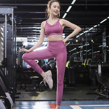 Sport Suit Women Seamless Fitness Leggings Yoga Set Sports Wear for Gym Tight Padded Push-up Bra Tracksuit