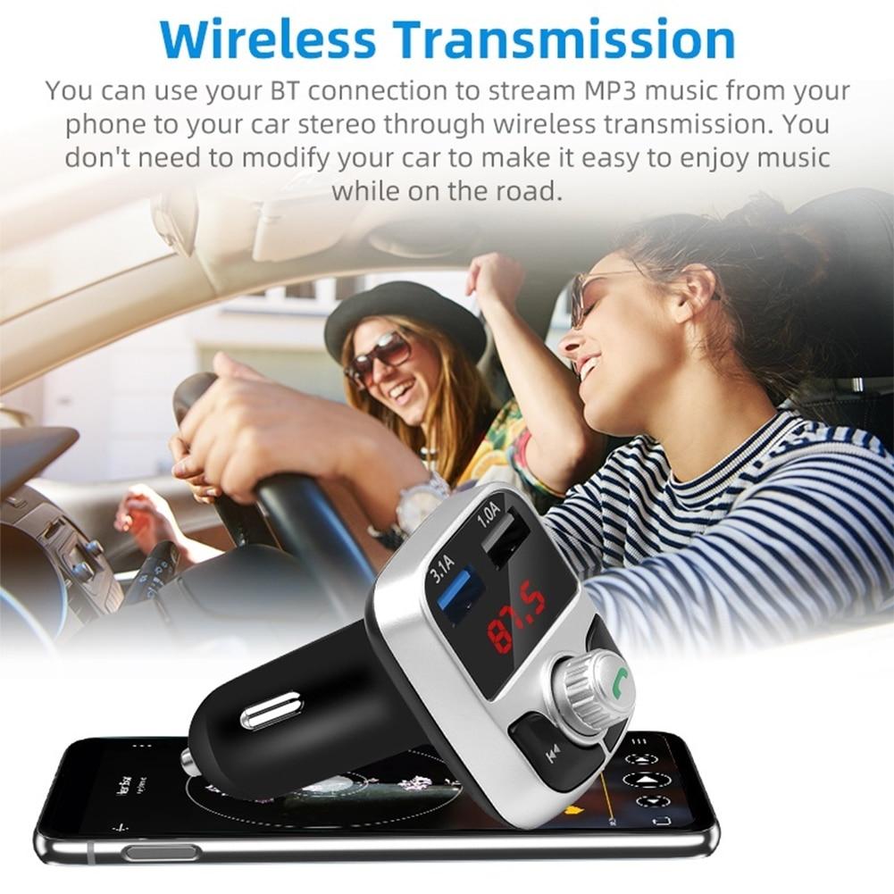 Récepteur Audio MP3 modulateur lecteur 3.1A USB chargeur voiture accessoires mains libres Bluetooth 5.0 FM transmetteur mains libres