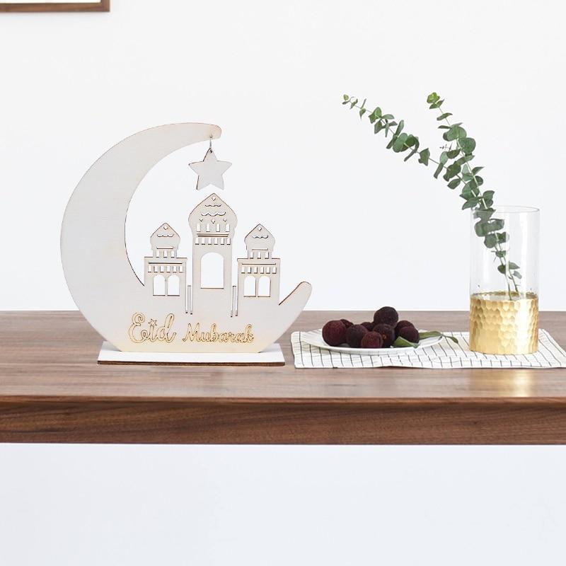 1set EID Mubarak Mosque Wooden Moon Hollow Pendant Ornament Islam Muslim Ramadan Festival Home Decor Hanging Supplies DIY Crafts