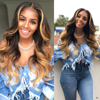JYZ Ombre Blonde 13x4 Lace Front Human Hair Wigs 130%  150% Density Lace Front Wigs Brazilian Body Wave Lace Front Wig Remy Hair 130 density brazilian omber full lace wigs 1bt27 body wave blonde lace front human hair wigs with bleached knots and baby hair