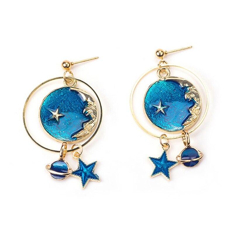 Fashion Jewelry Blue Enemel Planet Moon Star Dangly Hook Party Earrings LA