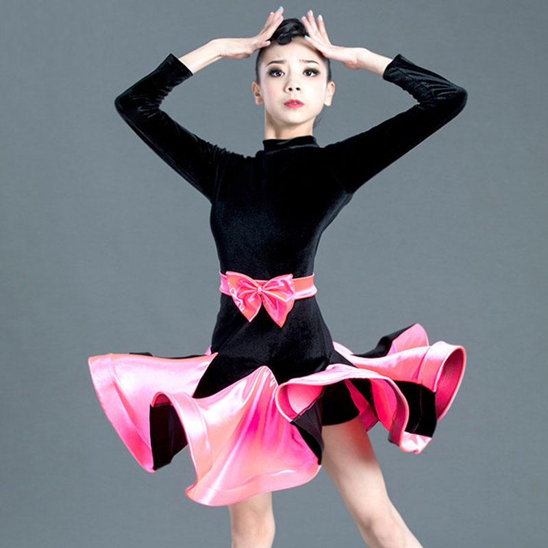 Latin Dance Skirt Autumn And Winter Models New Latin Dance Clothes Girls Practice Clothes Latin Dance Competition Clothing