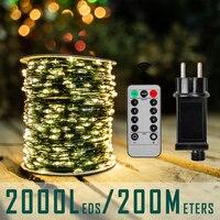 10m-200m LED String Lights fata ghirlanda di natale decorazioni per esterni luci impermeabili con telecomando per matrimonio camera da letto Tree Street
