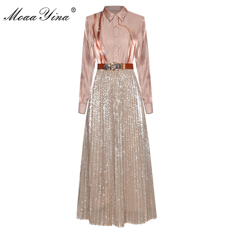 MoaaYina Fashion Designer Set Spring Summer Women Long Sleeve Print Shirt Tops+Mesh Sequins Skirt Two-piece Suit
