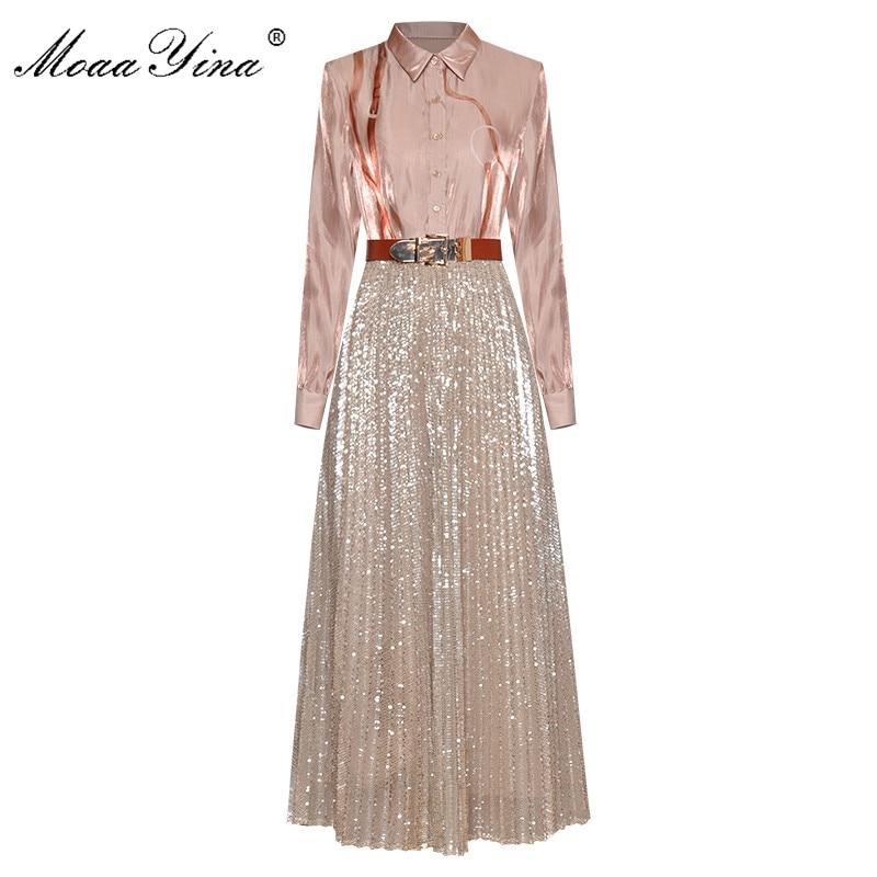 MoaaYina Fashion Designer Set Spring Summer Women Long Sleeve Print Shirt Tops+Mesh Sequins Skirt Two-piece Suit
