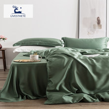 Liv-Esthete 100% Silk Green Bedding Set Mulberry 25 Momme Silk Bed Sheets Beauty Quilt Cover Set Pillowcase Queen King Bed Set