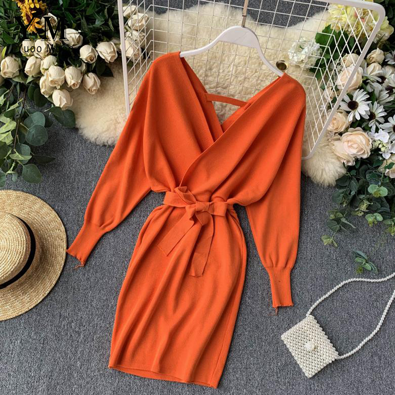 YuooMuoo Autumn Winter Women Knitted Sweater Dress 2019 New Korean Long Batwing Sleeve V Neck Elegant Dress Ladies Bandage Dress