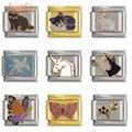 Браслет Hapiship DJ115, Шарм-браслет из нержавеющей стали шириной 9 мм, с маргариткой, собакой, слоном, кошкой, лошадью, рыбой, единорогом, кроликом