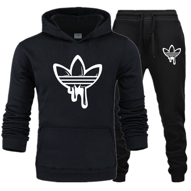 2019 New Two Pieces Set Fashion Hooded Sweatshirts Sportswear Men Tracksuit Hoodie Autumn Brand Clothes Hoodies+Pants men sets 1