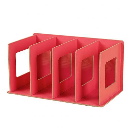 Простая многоярусная книжная полка 4 сетки оригинальная полка для хранения книжные мелочи DIY деревянный шкаф настольная подставка для книг домашняя детская книга - Цвет: RED