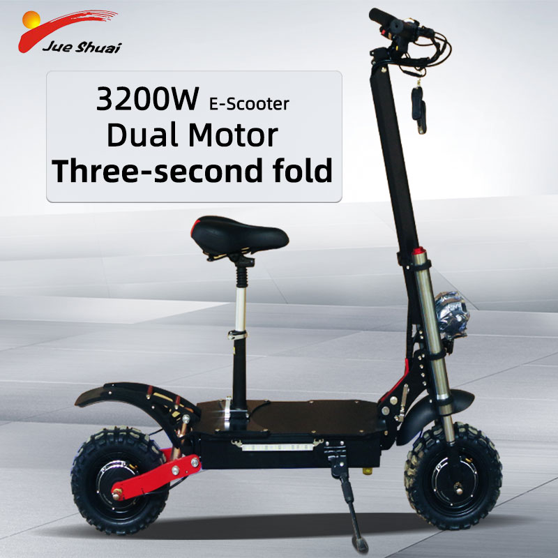 JS <font><b>3200W</b></font> 60V Electric <font><b>Scooter</b></font> with Seat 11inch Off Road Tire Adult Elektrikli <font><b>Scooter</b></font> Dual Motor High Power Foldable E <font><b>Scooter</b></font> image