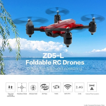 ZD5-L Foldable RC FPV Drones With 720P 2MP WIFI Optical Flow Dual Camera RC Helicopter Aircraft Model Toys Smart Follow