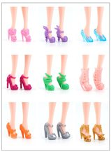 10 Pairs Mixed Fashion Colorful High Heels Sandals Accessories For Doll Shoes Clothes Dress Prop Girl Baby Toys(China)