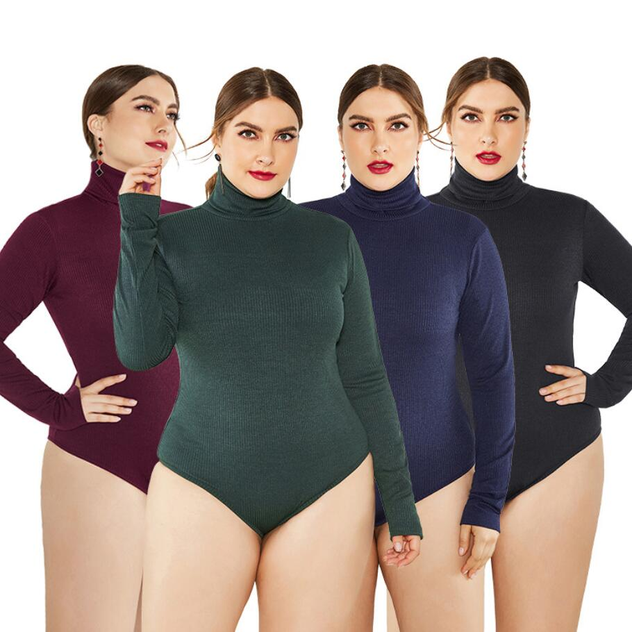 New Brand Autumn Winter Jumpsuits For Women Long Sleeve High Neck Sweater Knitted Bodysuit Stretch Plus Size Women Romper 5XL