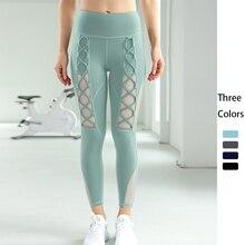 Mulheres de cintura alta leggings yoga rendas até respirável fitness workout gym leggings esportes elastano 2021 yoga calças exercício
