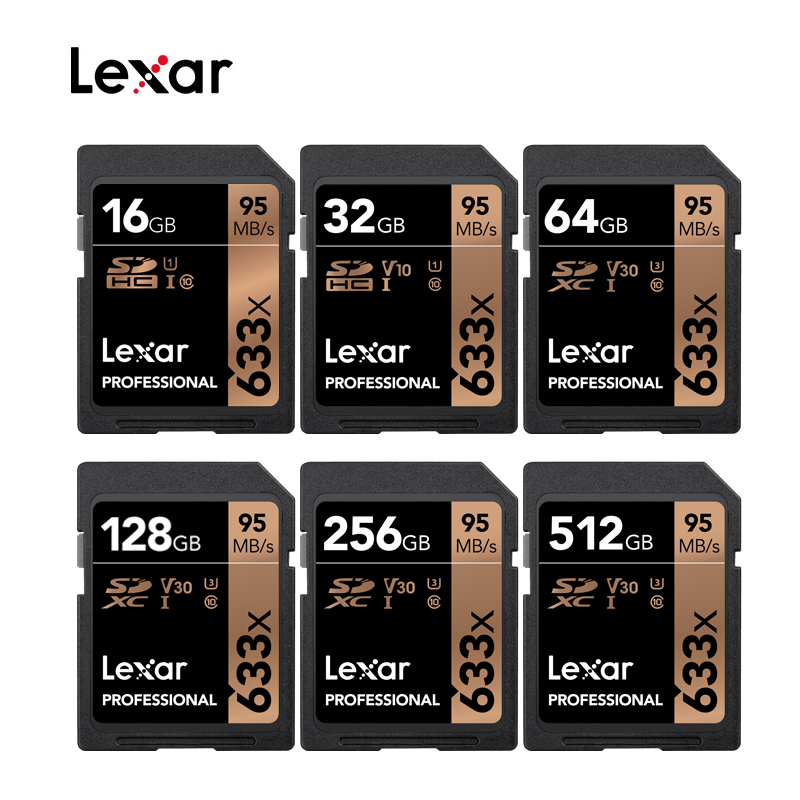Lexar 633x SDHC/SDXC UHS I Cards 95MB 16GB 32GB 64GB 128GB 256GB 512GB Class 10 Memory SD Card For 1080p full HD 3D 4K Camera|Memory Cards| |  - title=