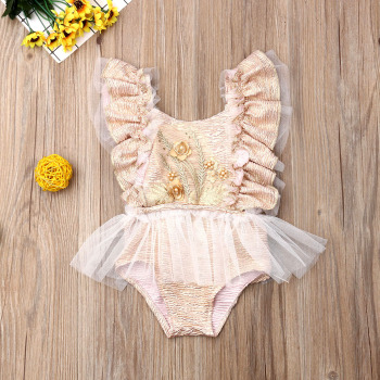 Pudcoco Newborn Baby Girl Clothes Sleeveless Ruffle Tulle Wheat Spike Romper Jumpsuit One-Piece Outfit Sunsuit Clothes emmababy summer newborn baby girl clothes sleeveless striped bowknot strap romper jumpsuit one piece outfit sunsuit clothes